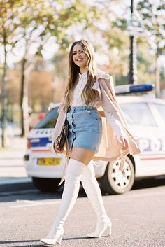 Kristina Bazan of Kayture , before Chloe, Paris, October Casual Skirt Outfits, Hot Outfits, White Boots, Sexy Boots, Milan Fashion Weeks, Paris Fashion, Over The Knee Boot Outfit, High Heel Boots, Ladies Dress Design