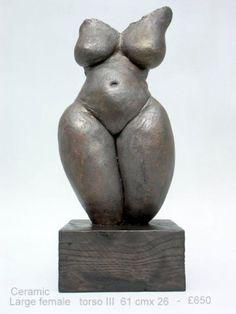 Ceramic Torsos sculpture by artist Jenny Eaton titled: 'Large Female Torso III (Earth Mother Torso Statue)' £650 #sculpture #art