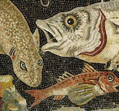Mosaik mit Fischen, Pompeji, Haus des Fauns, 2. Jh. v. Chr., Museo Archeologico Nazionale di Napoli. (Detail)
