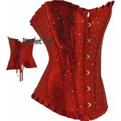 Red satin corset with rhinestones. www.discreettiger.com.au