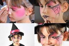 DIY Halloween face painting ideas for kids step by step tutorial Easy last minute scary Halloween face paintings for girls and boys Visage Halloween, Face Painting Halloween Kids, Halloween Makeup For Kids, Scary Halloween, Halloween Stuff, Halloween Costumes, Halloween Ideas, Halloween Decorations, Witch Costumes