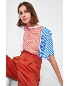 Image 4 of CONTRASTING STRIPES TOP from Zara