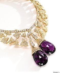 Van Cleef & Arpels; Diamond and Amethyst Botticelli Neclace; 18 Karat gold, diamond and amethyst Van Cleef & Arpels