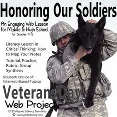 Teach note taking & critical thinking. Honor our veterans with this web project practicing the literacy skills of skimming, reading, and note taking. Students choose from a variety of topics; you choose the amount of detail you're looking for. 3-4 days of instruction material. Everything is included for you to print and go. There is also a background knowledge pre-assessment, and an interesting PowerPoint presentation of military dogs with bookmarks for anticipatory questions. Rubric…