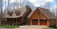 The Muirfield I log home plan is a stunning example of log home living at its best. Imagine living i . Garage Floor Plans, Log Home Floor Plans, Log Cabin Living, Log Cabin Homes, Log Cabins, Design Garage, House Design, Log Cabin Kits, Log Cabin Plans