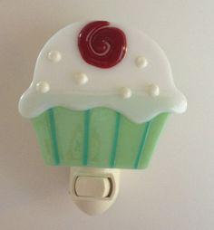 Cupcake Fused Glass Nightlight by NibNab on Etsy, $18.00