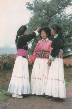 Chinese-Yunnan-Pumi-Nationality-Girls-in-Costume-Clothing-Postcard
