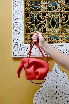 Loewe elephant red leather cross-body bag with a detachable adjustable shoulder strap and gold hardware.