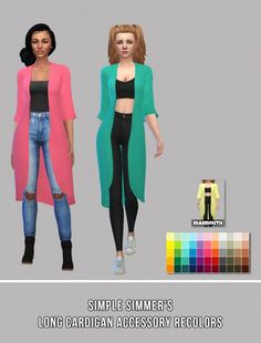 Simsworkshop: Long Acc Cardigan Recolors by maimouth • Sims 4 Downloads