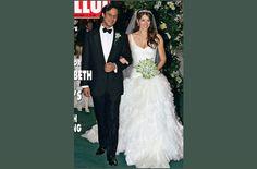 A actriz Elizabeth com o seu vestido de noiva