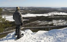 A snowshoe hiker admiring the Tornio River Valley in Pello on Lapland - Travel Pello - Lapland, Finland Winter Activities, Outdoor Activities, Finland Travel, Lapland Finland, Lappland, Arctic Circle, Cross Country Skiing, Art Of Living, The Great Outdoors