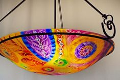 Painted Chandelier by artist Jenny Floravita Painted Chandelier, Chandelier For Sale, Glass Chandelier, Kiln Formed Glass, Ceiling Canopy, Ceiling Height, Light Art, Decorative Bowls, Bulb