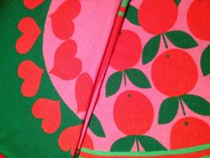 60s Vintage swedish round table cloth. Lovely retro pink scandi pattern with hearts and apples