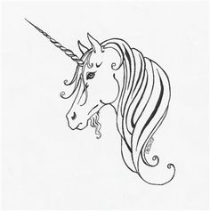 Unicorn Tattoos Designs And Ideas : Page 46 Easy Dragon Drawings, Back Of Shoulder Tattoo, Line Art Vector, Unicorn Tattoos, The Last Unicorn, Little Poney, Symbol Tattoos, Tatoos, Tattoo Outline