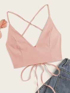 Shop Lace Up Back Crop Cami Top at ROMWE, discover more fashion styles online. Cropped Cami, Cami Crop Top, Crop Tops, Tank Tops, Women's Tops, Fashion News, Fashion Outfits, Womens Fashion, Fashion Clothes