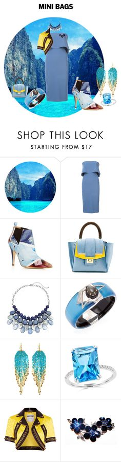 """""""Blue, Blue Set Following the midi-skirt Trend"""" by mkdetail ❤ liked on Polyvore featuring Likely, Moschino, Alila, Alexis Bittar, NAKAMOL and Bloomingdale's"""