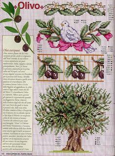 Cross Stitch Fruit, Cross Stitch Tree, Cute Cross Stitch, Cross Stitch Borders, Cross Stitch Flowers, Cross Stitch Charts, Cross Stitch Designs, Cross Stitching, Blackwork Embroidery