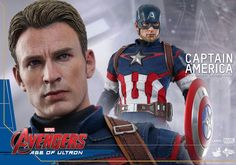 A 1:6 scale Captain America Avengers: Age Of Ultron collectable figure is a life like sculpting of Chris Evans likeness brought to life with joint articulation, a finely tailored Captain America suit and a magnetic stars and stripes shield with retractable handles.