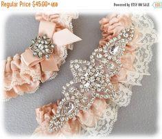 20% OFF Blush Bridal Garter Set Lace Garter Set by GarterQueen