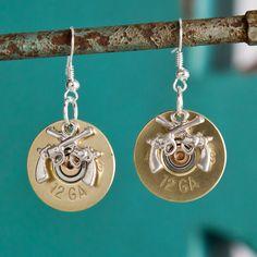 Bullet Earrings - Bullet Jewelry - Brass Winchester 12 Gauge Silver Shotgun Casing Dangle Earrings w/ Pistol Charm Ammo Jewelry, I Love Jewelry, Leather Jewelry, Metal Jewelry, Pendant Jewelry, Jewelery, Jewelry Making, Leather Cuffs, Jewelry Ideas
