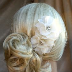 Silk organza flowers hair clip for wedding reception bridal party  wedding hair piece - 2 ivory peonies - on sale