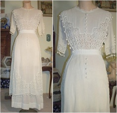 Beautifully Detailed Crepe and Lace Edwardian Dress Crochet Buttons 32 bust