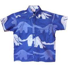 Boys Button Down Shirt - Elephants: Blueberry - Size 8
