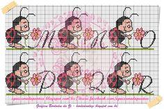 Tirei esse gráfico do blog   bordadosdazi.blogspot.com.br    Fiquei encantada e fiz uns nomes femininos que postei anteriormente   e resol...