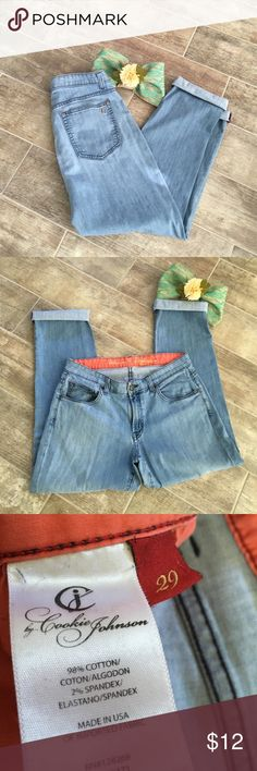 """Love Boyfriend Jeans by Cookie Johnson Super cute jeans by Cookie Johnson!!!  Love Boyfriend fit.  Size 29.  Can be cuffed for a fun, flirty look or worn as they are!!!!  Either way you can't go wrong.  98% cotton & 2% spandex.  So there is some stretch in these.  16"""" waist; 11.5"""" rise; 29"""" inseam.  free home that has a Yorkie!!!! Cookie Johnson Jeans Boyfriend"""