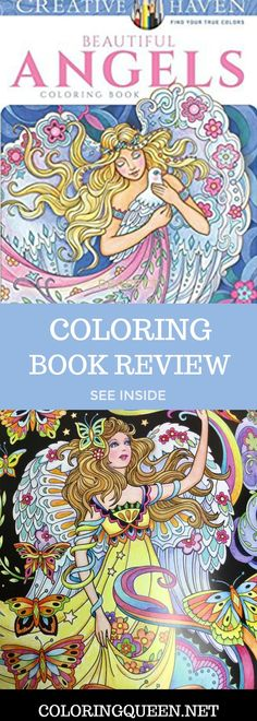 Beautiful Angels Coloring Book published by Creative Haven and illustrated by Marjorie Sarnat features angels from whimsical to traditional