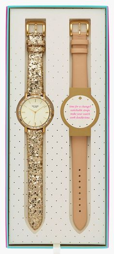 Fun party Kate Spade watches in pink and gold glitter. http://rstyle.me/n/vgmgin2bn