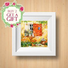 Orange Cottage wall art Cozy Cottage art print Vintage Garden art print Province style Housewarming gift Oil painting print INSTANT DOWNLOAD