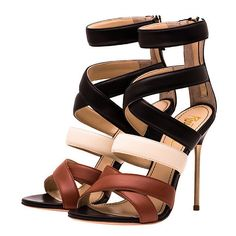 Jerome C. Rousseau Floyd Multi-Strap Sandal ($239) ❤ liked on Polyvore featuring shoes, sandals, heels, sapatos, high heels, summer shoes, summer sandals, stiletto heel shoes, heels stilettos and stiletto high heel shoes