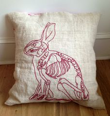 Hand-embroidered Cushion at Harvey's Counter, 443 Warren Street, Hudson NY