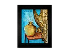 Gold Vase Still Life Watercolor Painting by PrintedPaintingLady