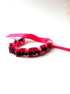 Black and Pink Ribbon Woven Bracelet, 3 Black Beads Woven