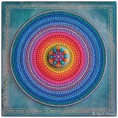 Jewel Drop Mandala Stone sitting on a mandala orb painting- both created by Elspeth McLean #elspethmclean #mandala #rainbow