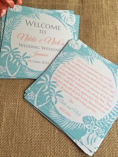 """Great Addition for Wedding Welcome Bags! This listing is for 5"""" x 5"""" printed doube-sided Welcome note tag with satin ribbon. (Any of my"""