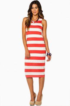 Caden Striped Dress in Red