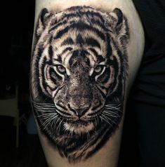 Tiger Tattoo Thigh, Mens Tiger Tattoo, Tiger Eyes Tattoo, Tiger Tattoo Sleeve, Tiger Tattoo Design, Tattoo Designs, Best Sleeve Tattoos, Chest Tattoo Tiger, Lion Shoulder Tattoo
