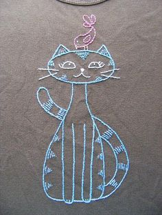 BFF Cat and Bird embroidery pattern pattern on Craftsy.com