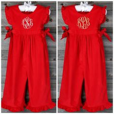 Corduroy Savannah Long Romper Red by Southern Sunshine Kids. #SmockedAuctions