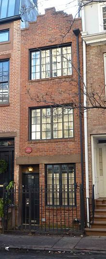 Edna St. Vincent Millay - home 1923-24 renowned for being the smallest in NYC @ 75 1/2 Bedford St. in Greenwich Village