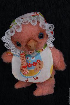 Купить Совёнушка тедди Жозефина - коралловый, авторская ручная работа, авторская работа, авторская игрушка