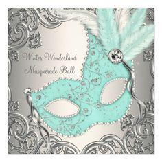 Elegant Silver Teal Blue Masquerade Party Custom Invitations