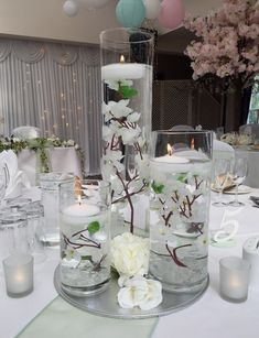 Blossoms trio vase centrepiece with floating candles #piecesandposies