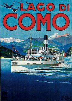 Lago di Como, Italian Travel Poster boat and mountain scene