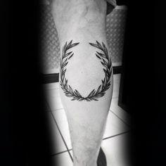 Mens Tattoo Ideas With Laurel Wreath Design Leg Calf