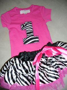 Infant/Toddler Girls 1st First birthday Zebra Bright Pink 1 Shirt and matching pettiskirt