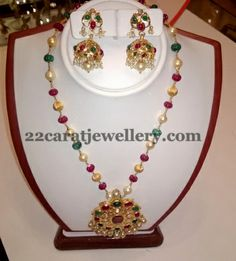 Beads Set with Gorgeous Jhumkas | Jewellery Designs